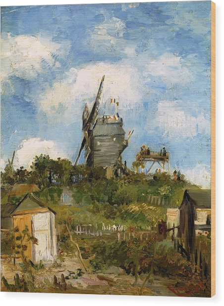Windmill In Farm Wood Print