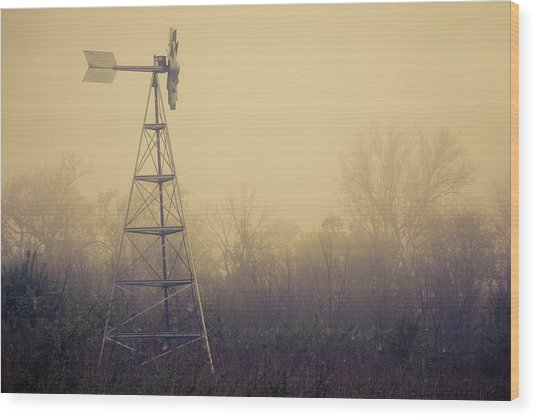 Windmill In The Foggy Dawn Wood Print