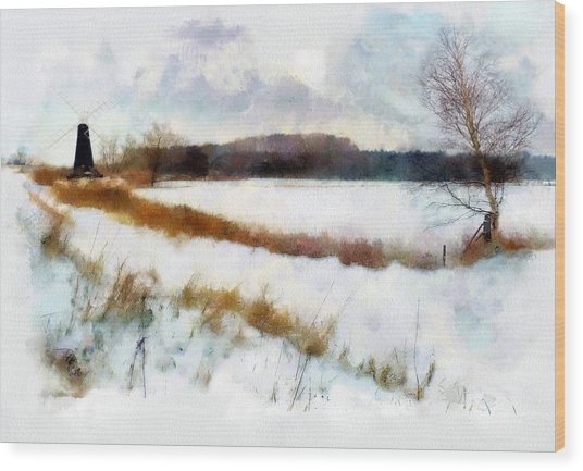Windmill In The Snow Wood Print