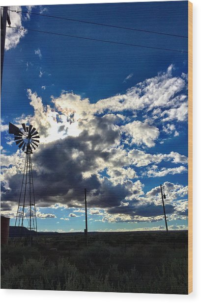 Windmill Lonely Wood Print