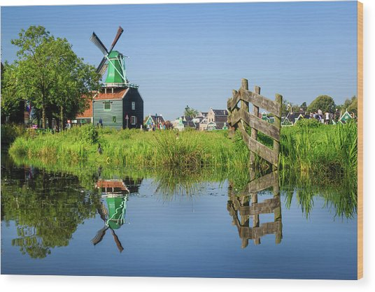Windmill Reflection Wood Print