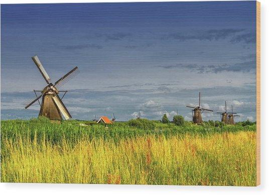 Windmills In Kinderdijk, Holland, Netherlands Wood Print