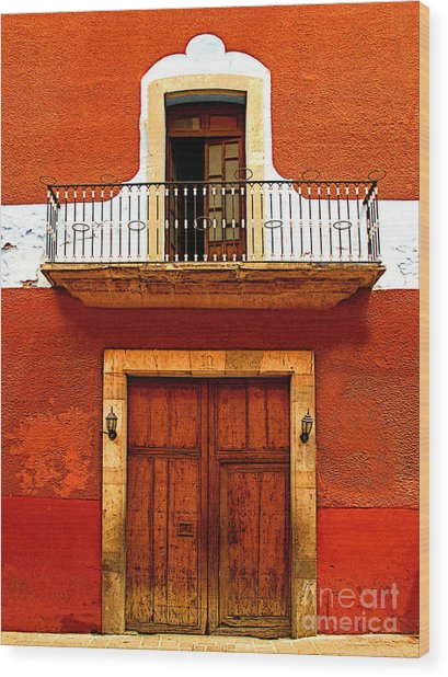 Window Above The Wooden Door Wood Print by Mexicolors Art Photography