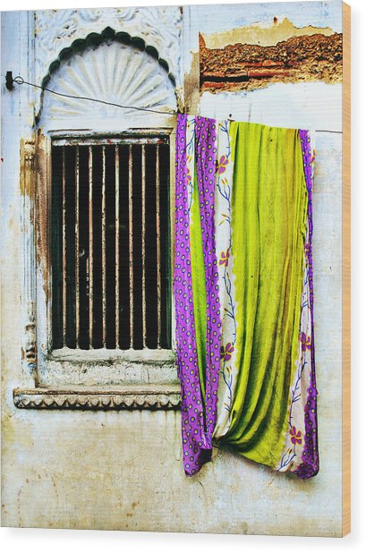 Window And Sari Wood Print by Derek Selander