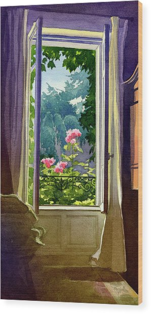 Window At Clermont Wood Print
