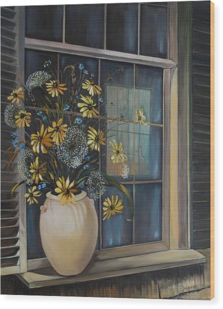 Wood Print featuring the painting Window Dressing - Lmj by Ruth Kamenev