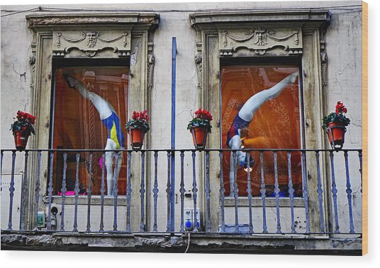 Window Dressing 2 In Florence Italy Wood Print