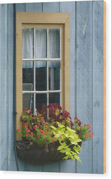 Window Flower Basket Wood Print