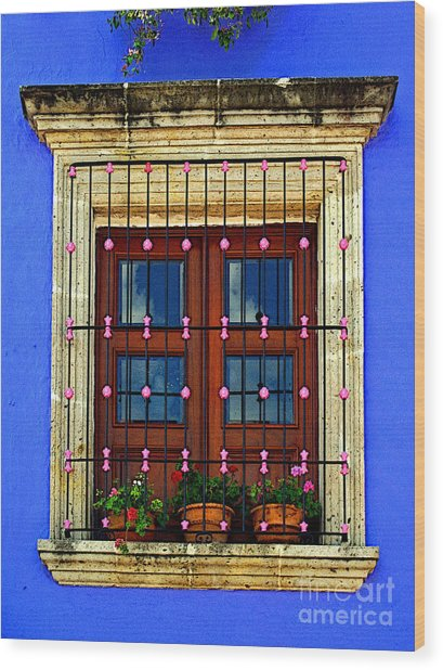 Window In Blue With Baubles Wood Print by Mexicolors Art Photography