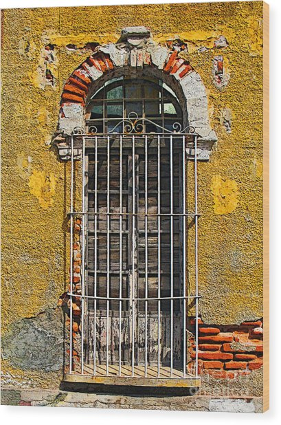 Window In The Yellow Wall By Darian Day Wood Print by Mexicolors Art Photography