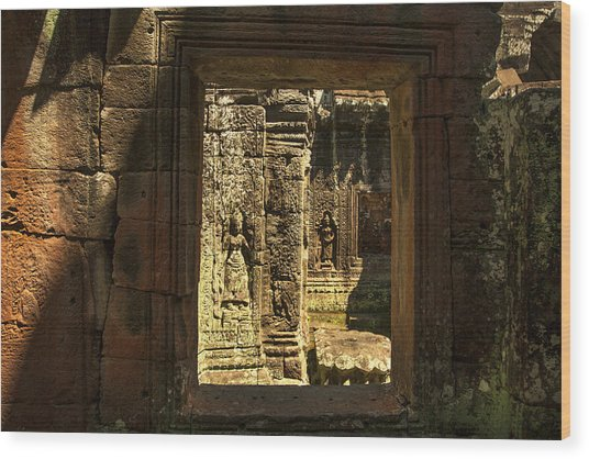 Window Into Angkor Wat Wood Print