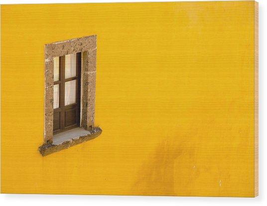 Window On A Yellow Wall. Wood Print