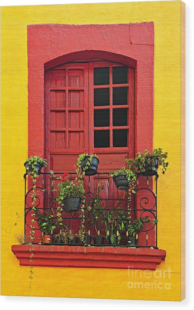 Window On Mexican House Wood Print