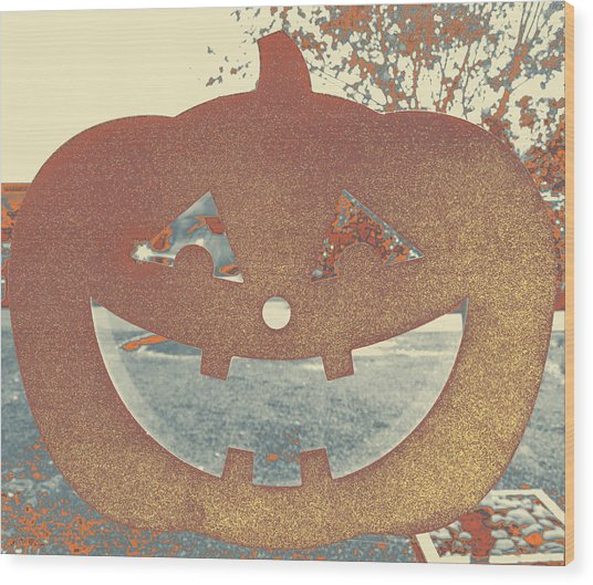 Window Pumpkin #1 Wood Print