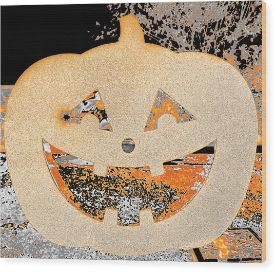 Window Pumpkin #3 Wood Print