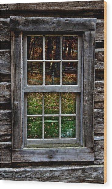Window Reflection At Mabry Mill Wood Print