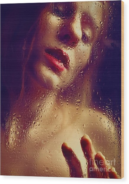 Window -  Sensual Woman Portrait Behind A Rainy Window Wood Print