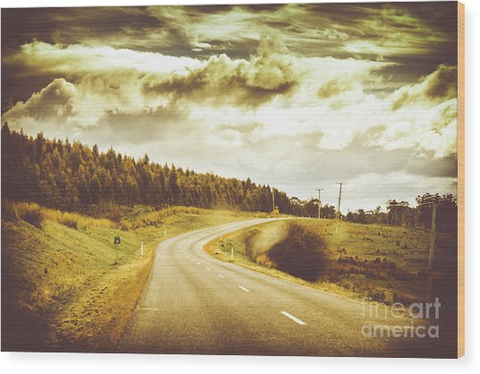 Window To A Rural Road Wood Print