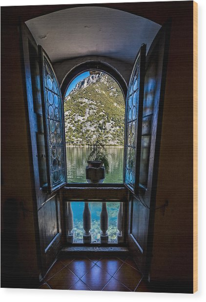 Window To The Lake Wood Print