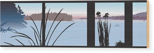 Window View Wood Print by Marian Federspiel