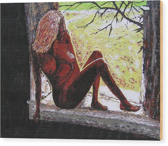 Window View Wood Print by Ricklene Wren