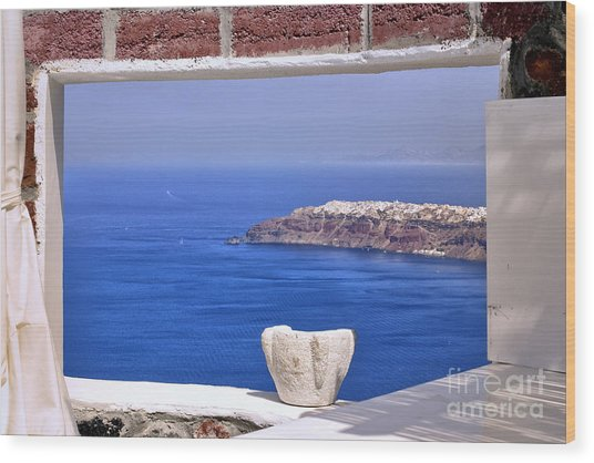 Window View To The Mediterranean Wood Print