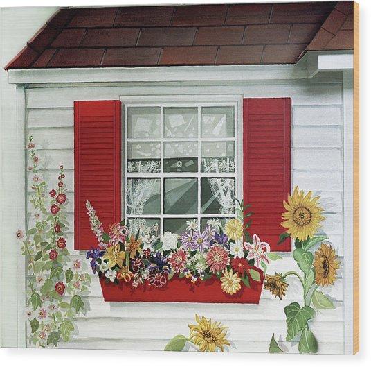 Windowbox With Cat Wood Print