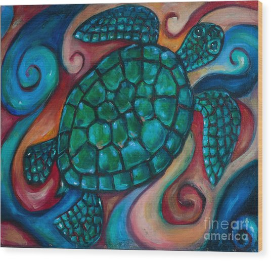 Windowpane Sea Turtle Wood Print by Linda Olsen