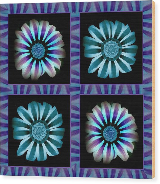 Windowpanes Brimming With  Moonburst Stripes Of Flowers - Scene 2 Wood Print by Jacqueline Migell