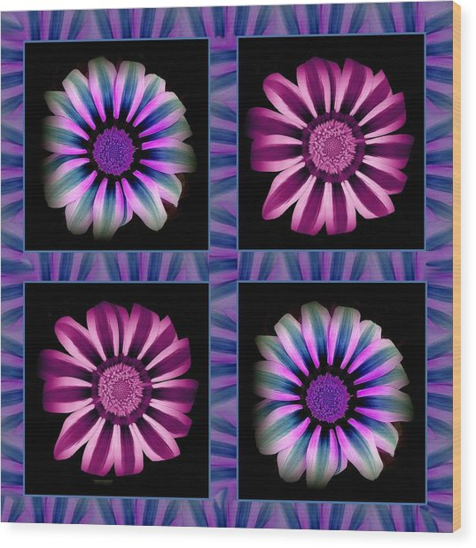 Windowpanes Brimming With  Moonburst Stripes Of Flowers - Scene 5 Wood Print by Jacqueline Migell