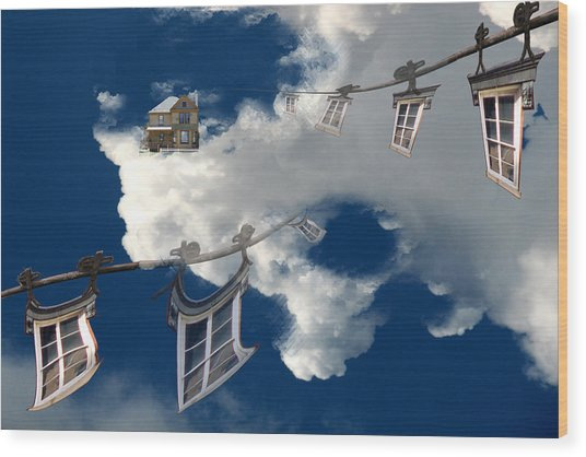 Windows And The Sky Wood Print