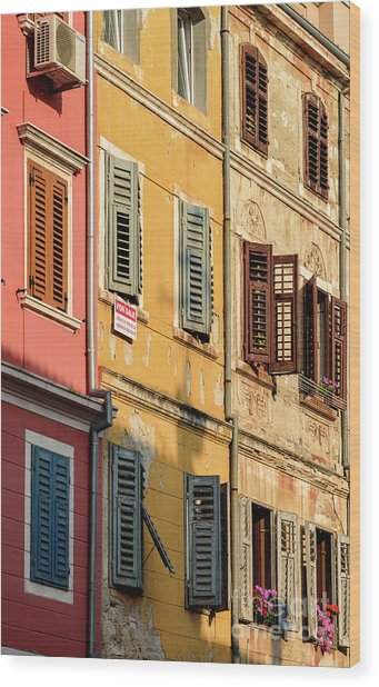 Windows Of Rovinj, Istria, Croatia Wood Print