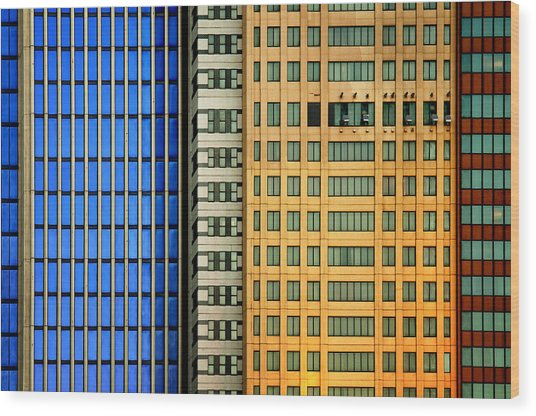 Windows On The City Wood Print by Mathilde Guillemot