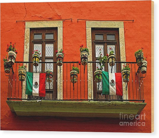 Windows With Flags Wood Print by Mexicolors Art Photography