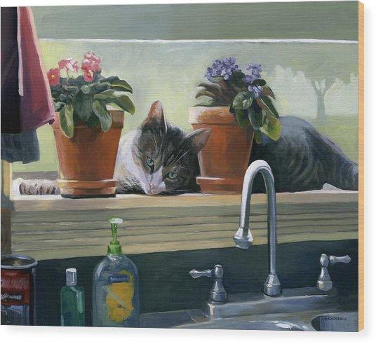 Windowsill Cat Wood Print