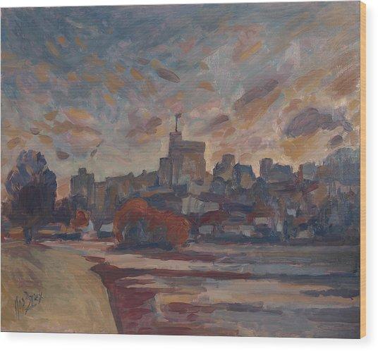 Windsor Castle Along The Thame Wood Print