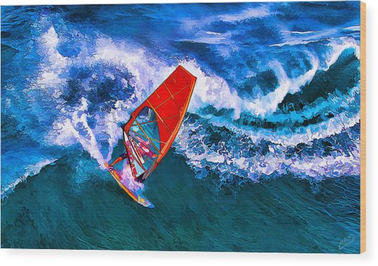 Windsurfer 1 Wood Print