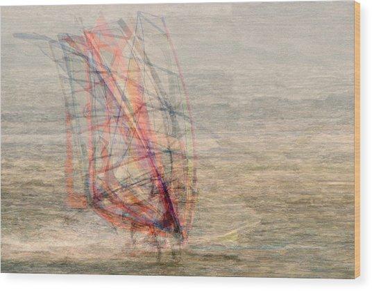 Windsurfers Wood Print by Denis Bouchard