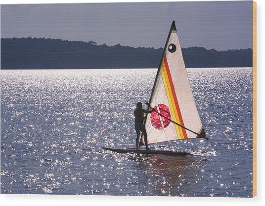 Windsurfing Lake Champlain Wood Print