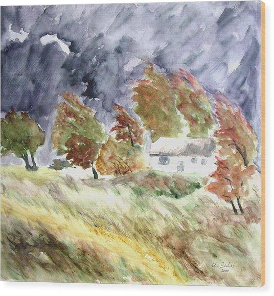 Windswept Landscape Wood Print