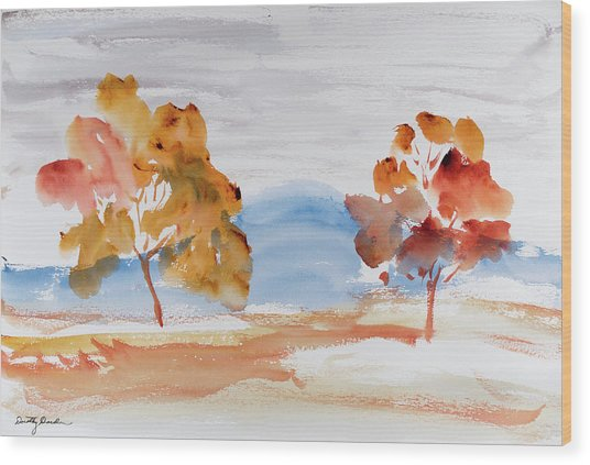 Windy Autumn Colours  Wood Print