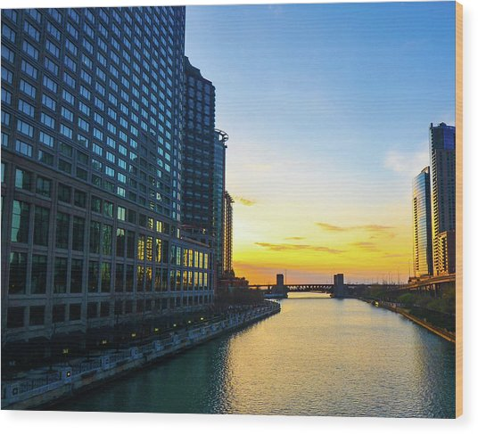 Windy City Sunrise Wood Print