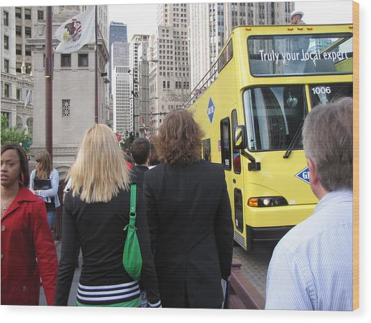 Windy City Walkabout Wood Print by Sylvia Wanty