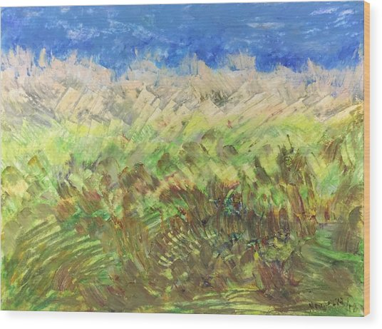 Windy Fields Wood Print