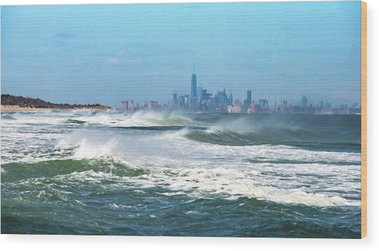 Windy View Of Nyc From Sandy Hook Nj Wood Print