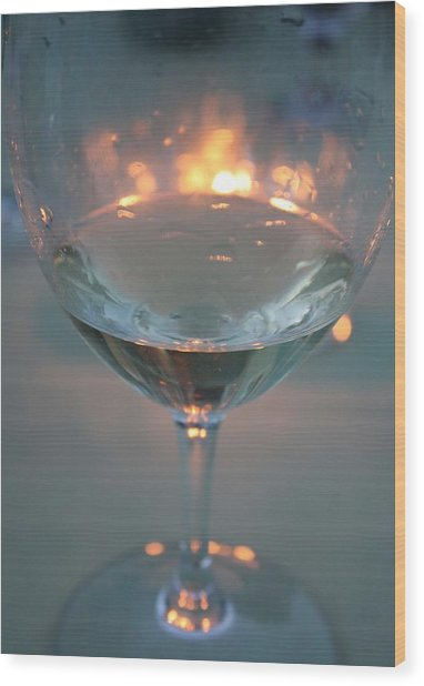 Wine And Candlelight Wood Print by Gail Salitui