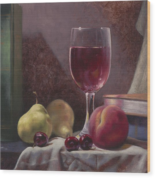 Wine And Fruit Wood Print
