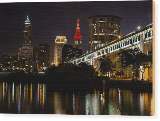 Wine And Gold In Cleveland Wood Print