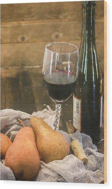 Wine And Pears Wood Print