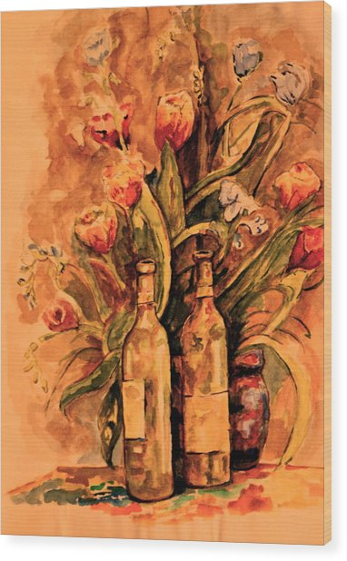 Wine And Tulips Wood Print by Dan Earle